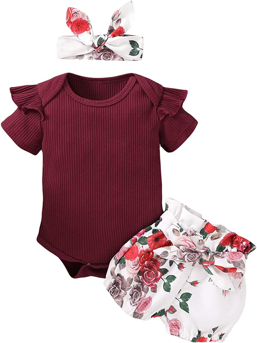 Newborn Baby Girl Clothes Infant Outfits Romper Ruffle Onsies Floral Pants Headband Cute Toddler Baby Girl Clothes Set