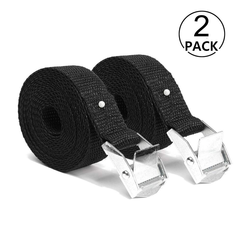 Tie-Down Cam Buckle Straps Cargo Strap Lashing Strap Heavy Duty Tensioning Belts Adjustable 5m x 25mm for Car Luggage Cargo Trailer Household Goods Carriers, Rated Load 250 kg, Black. RXYYOS
