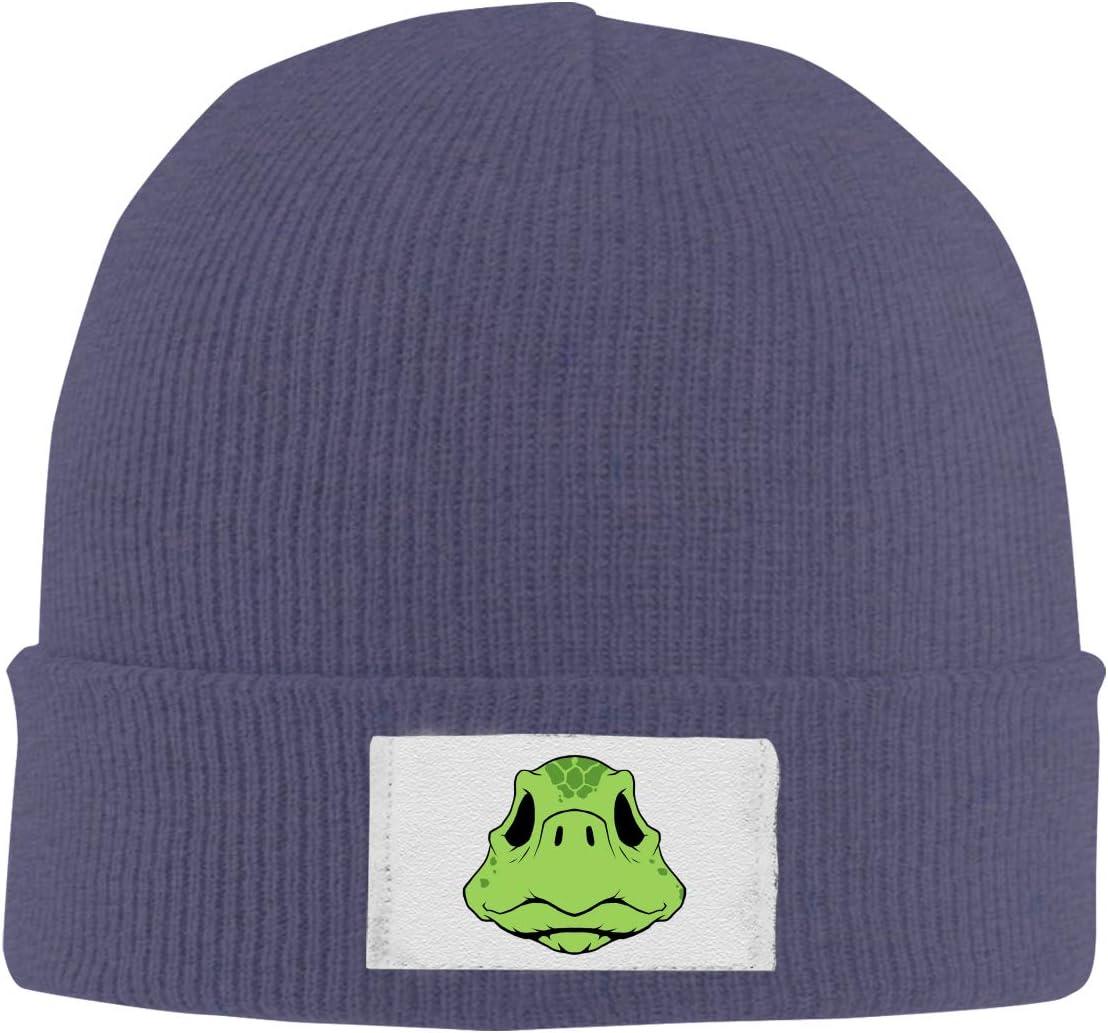 Stretchy Cuff Beanie Hat Black Dunpaiaa Skull Caps Cartoon Turtle Winter Warm Knit Hats