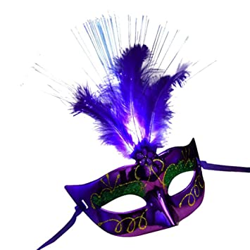 saihui caliente las mujeres veneciana LED Cable de máscara Masquerade Fancy Dress Party máscaras de plumas