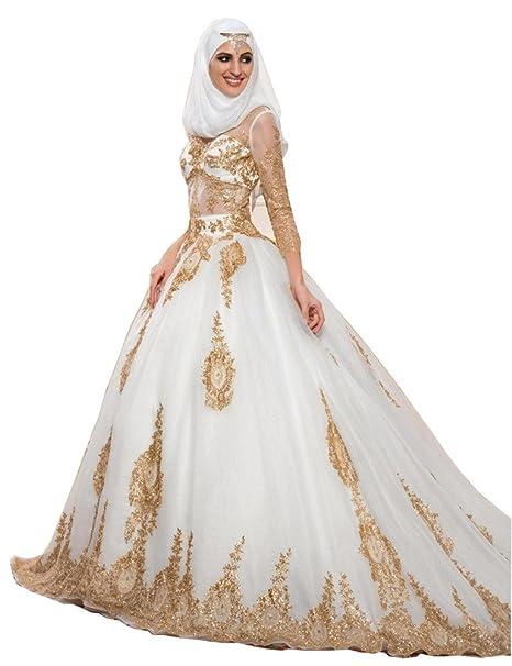 Tsbridal Gold Ball Gowns Wedding Dresses Long Sleeves Muslim Wedding Dress