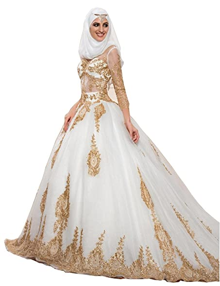 Tsbridal Gold Ball Gowns Wedding Dresses Long Sleeves Muslim ...