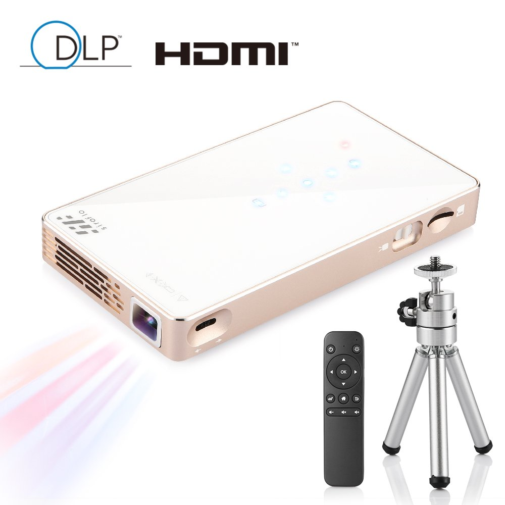 Portable DLP Mini Projector, Siroflo P8S Multimedia Home Theater Video Projector Support 1080P HDMI USB TF Card AV for Camp Outdoor Indoor Cinema TV Laptop Game iPhone Android Smartphone