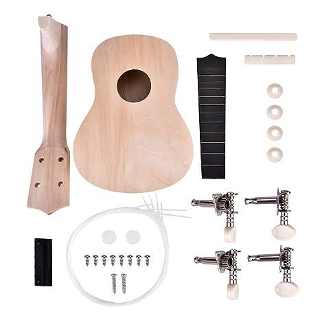 21 Pulgadas Ukulele DIY Kit, 4 Cuerdas pintables Ukelele Accesorio Instrumental de música Bricolaje