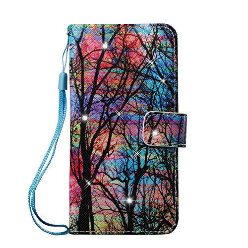 Hülle für Samsung Galaxy J7(2016),Galaxy J7(2016) Schutzhülle,Galaxy J7(2016) Handyhülle Lederhülle,Hpory Luxus Bling Kristall Glitzer Strass Diamant Colorful Painting PU Leather Ledertasche Lederhüll Farb Baum