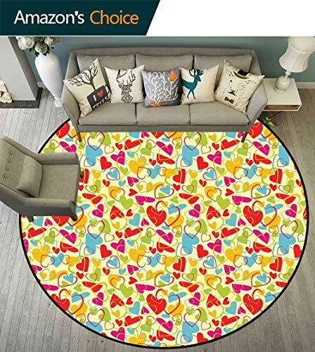 Valentines Round Rug Underlay,Collection of Colorful Hearts with Abstract Composition Romantic Day Love Theme Non Slip -