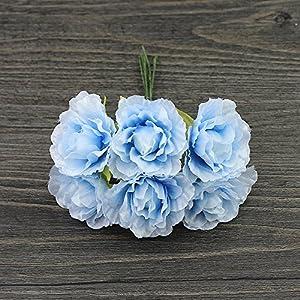 silk flower Artificial rose flowers party wedding decoration DIY Wreath Gift Scrapbooking Craft Fake Flower 30pcs/lot 3cm (sky blue) 50