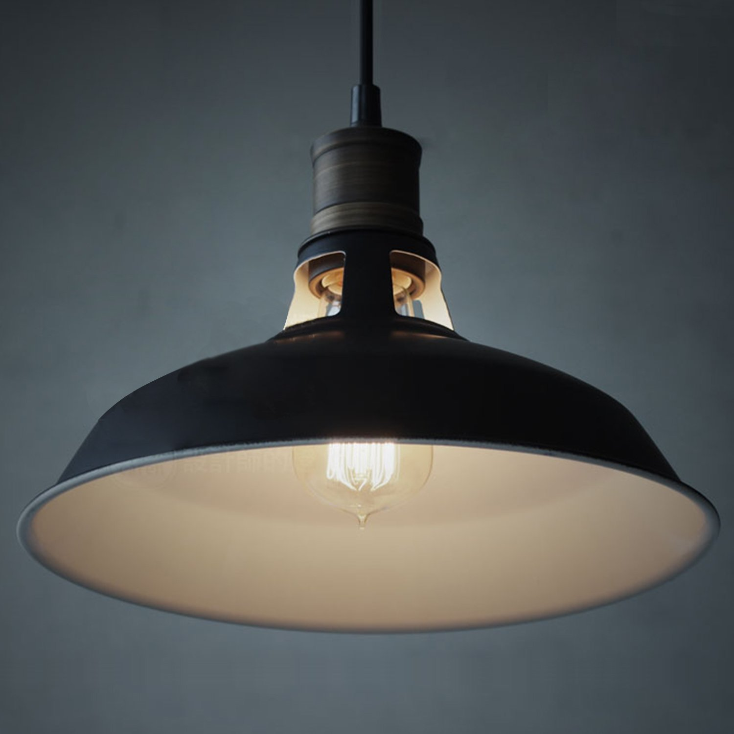 Lovely Black Industrial Light Part - 14: CLAXY Ecopower Industrial Barn Mini Metal Pendant Light 1 Light - -  Amazon.com