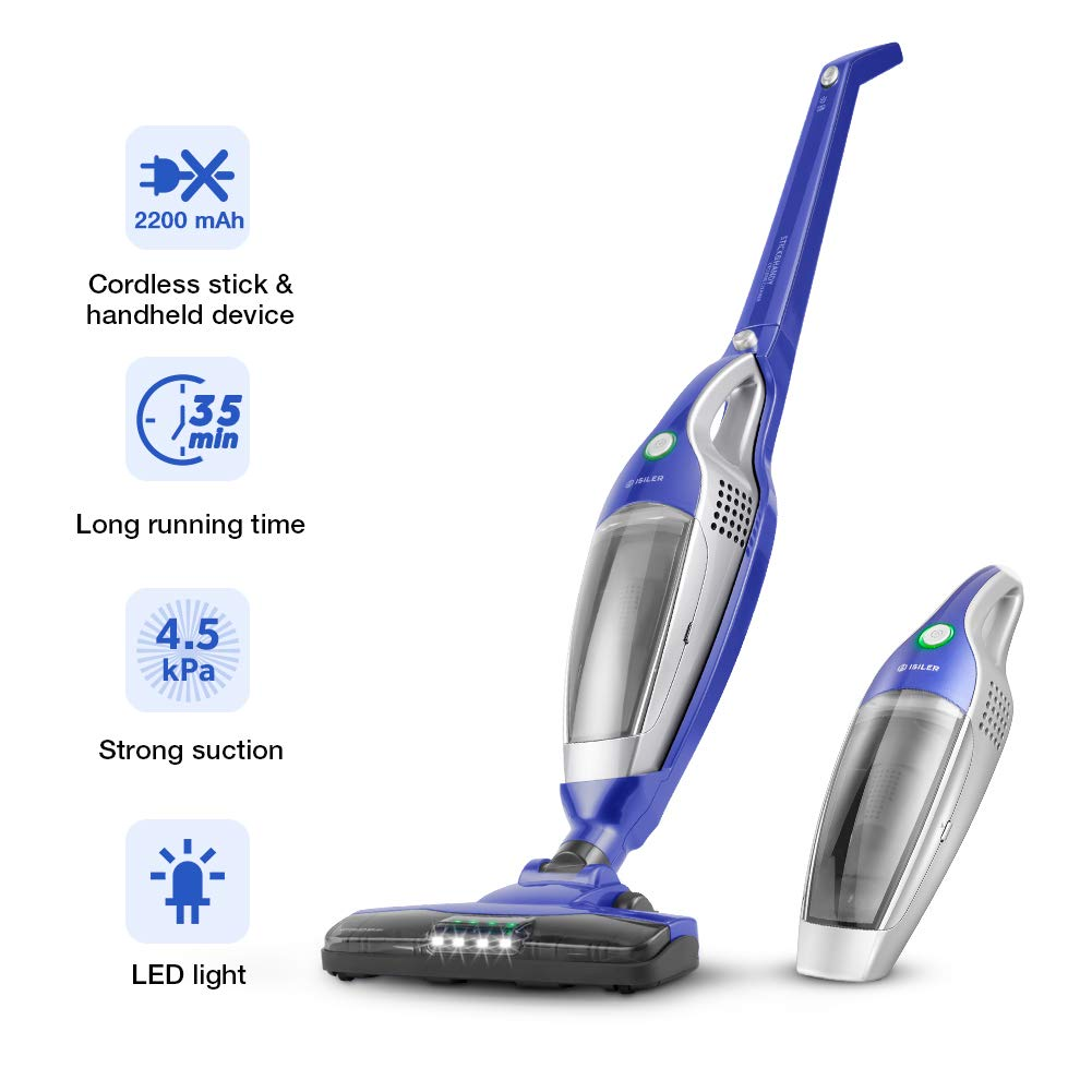 Cordless Vacuum Cleaner, iSiLER 2 in 1 Handheld Vacuum Cleaner, 35 Minutes Running-Time Upright Vacuum Cleaner with Corner Lighting, Cordless Stick Vacuum with 2200mAh Li-ion Rechargeable Battery X1201
