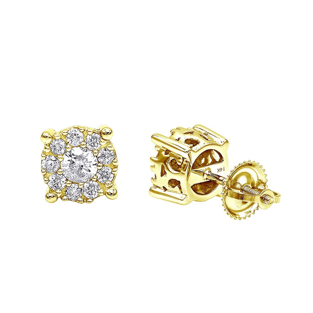 Halo 14K Rose, White or Yellow Gold Cluster Diamond Earrings Studs for Men or Women 0.75ctw (Yellow Gold)