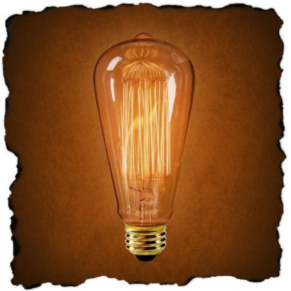 60 Watt Marconi Squirrel Cage Filament Bulb - 1910 Edison Style (6 Pack)