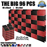 "Dragon Dash 96 Pieces of 9.8"" x 9.8"" x 1.9"" Inches Black & Red Acoustic Soundproofing Wedge Foam Studio Treatment Wall Panel Tiles DD1134"
