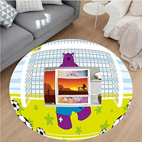Nalahome Modern Flannel Microfiber Non-Slip Machine Washable Round Area Rug-Cute Hippopotamus Soccer Goal Keeper Football Cartoon Print Apple Green Baby Blue Purple area rugs Home Decor-Round 75'' by Nalahome