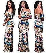 lexiart Women's Maxi Dresses Ruffle Plain Off Shoulder Floral Print Sexy Cocktail Bodycon Dresses S-3XL