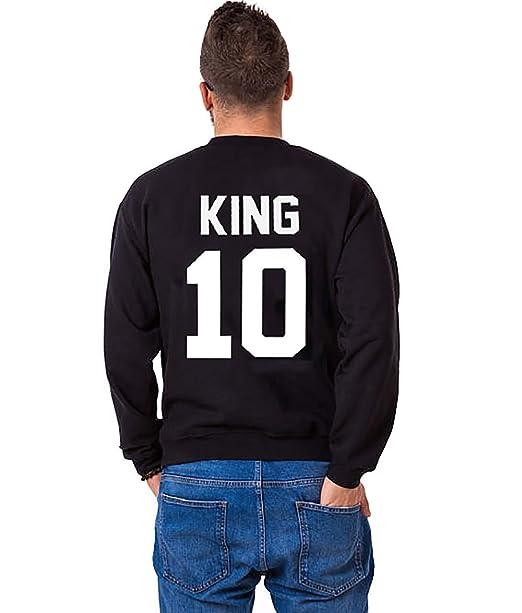 JWBBU Sudaderas para Mujeres y Hombres Suéter Impresión King Queen 10 sin Capucha Manga Larga Sweater