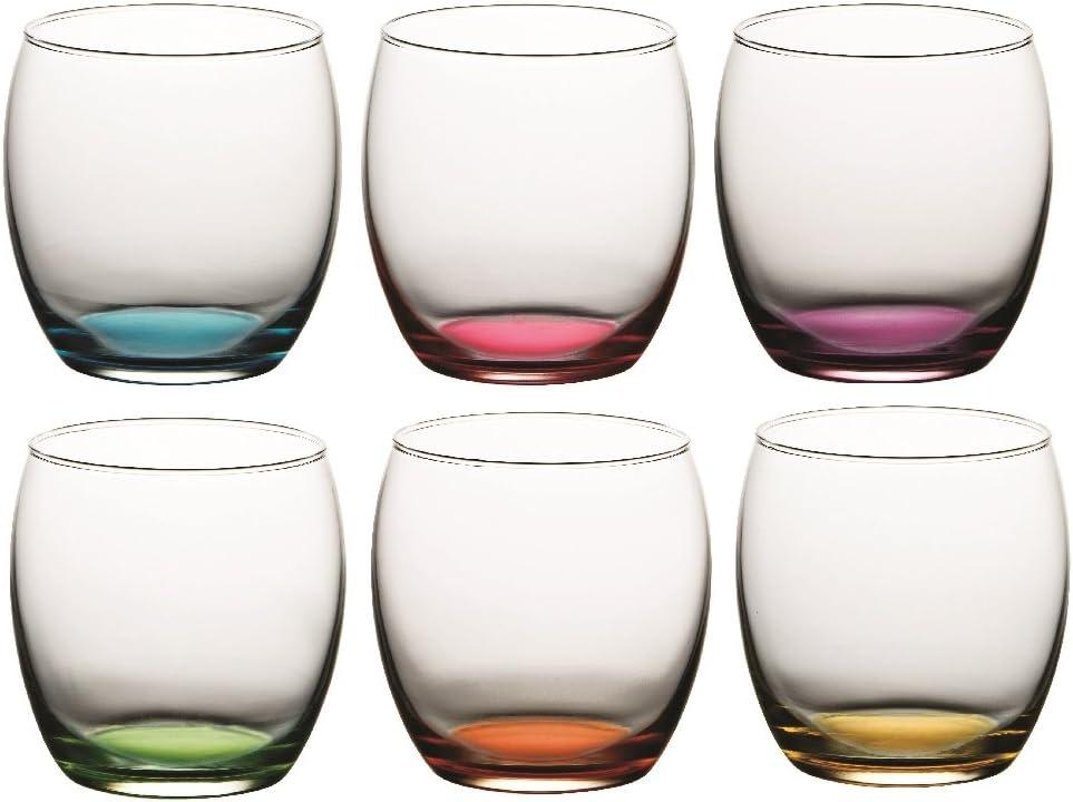Pasabahce Set de 6 Vasos de Agua Luna Multicolor: Amazon.es: Hogar