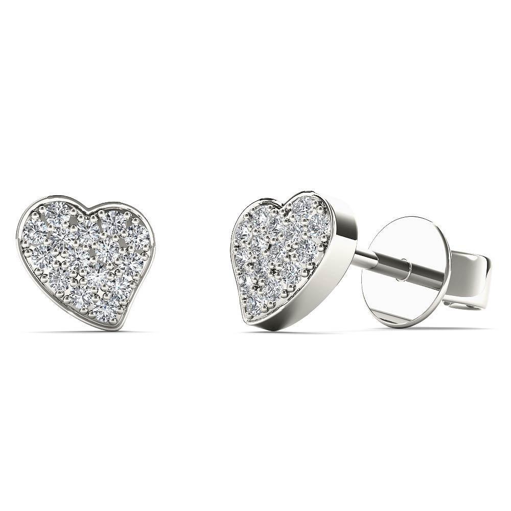 JewelAngel Kids Big Girl's Diamond Accent Stunning Heart Stud Earrings (H-I, I1-I2) 10K White Gold