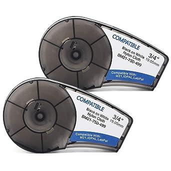 2PK Compatible For Brady M21-750-499 Bmp21 Plus//IDPAL Cartridge Black on White