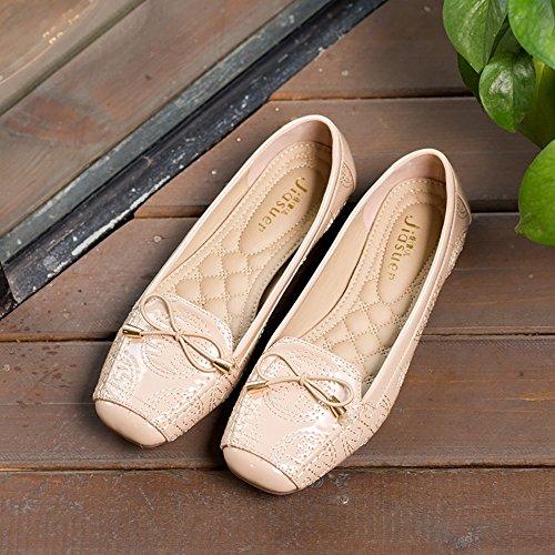 Meeshine Womens Square Toe Bowknot Ballett Komfort Slip auf Wohnungen Schuhe Beige