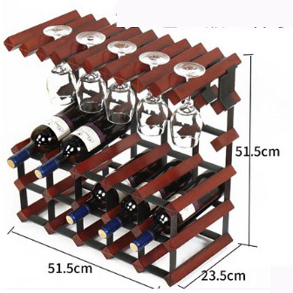 ワインラック無垢材ワインラック装飾、ワインディスプレイスタンド家庭用リビングルームワインキャビネット、装飾ワインラック,15bottlesinred B07R4SB238  15bottlesinred