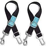 Dog Seat Belt Pet Dog Cat Car Seatbelt Safety Tether - 2 Pack - Adjustable Harness Belts Pet Leash - Heavy Duty Nylon…