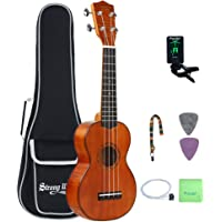 Mahogany Soprano Ukulele Kit, Strong Wind 21 Inch Professional Ukulele Pack for Beginner/Experienced Musician with Tuner Strap Gig bag Picks Strings Polishing Cloth