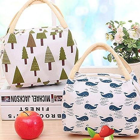 NAttnJf San Valentino Regalo Carino Cartone Animato Termica Isolato Canvas alimento Frutta Custodia Sacchetto Pranzo Scatola Bag-Tree