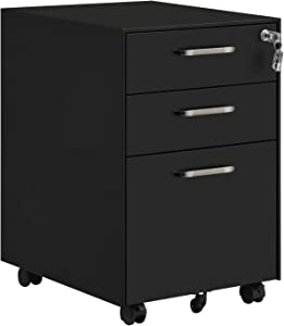 SONGMICS 3 Drawer File Cabinet, Mobile Steel Office Cabinet on Wheels, with Lock, for A4, Legal/Letter Sized Documents, Hanging File Folders, Black UOFC010B01