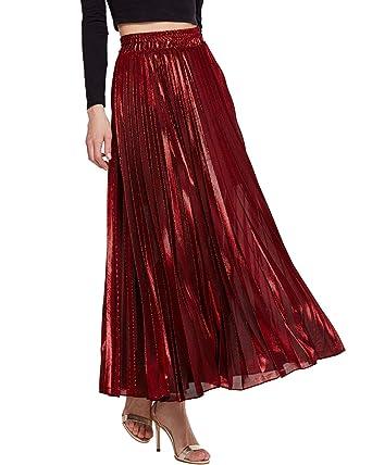 be66519f4 KENANCY Women's Metallic Shiny Accordion Pleated Long Maxi Party Skirt at  Amazon Women's Clothing store: