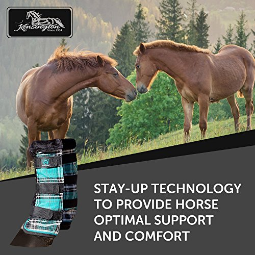 Kensington Horse Fly Boots with Comfortable Fleece Trim — Stay-Up Technology with Velcro Straps — Protection from Insect Bites and UV Rays — Sold in Pairs of 2 (Black Ice Plaid) by kensington products (Image #1)