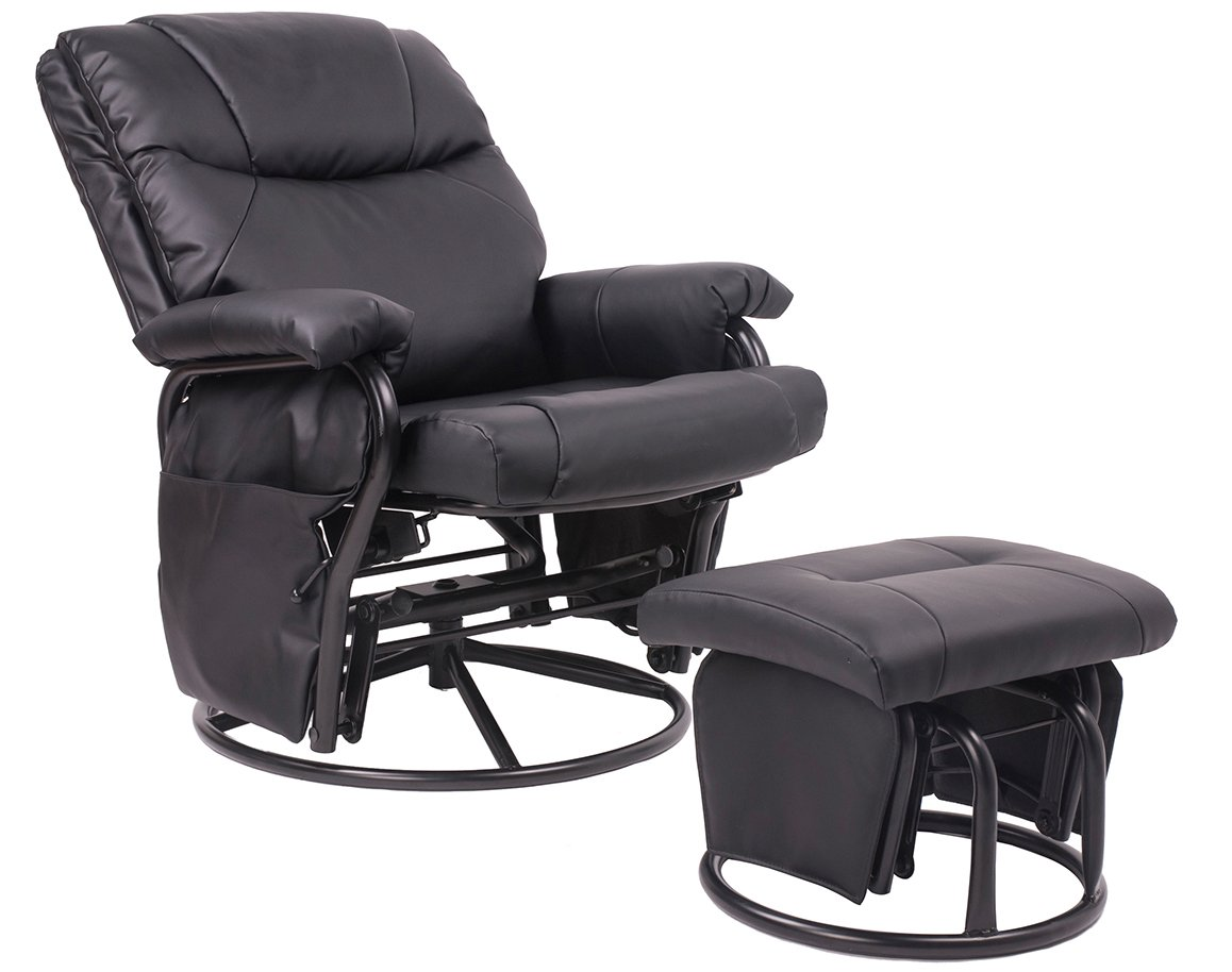 Amazon.com: Merax® Black Pu Leather Nursing Glider Rocker Recliner And  Ottom Swivel Glider Recliner Chair With Ottoman Living Room Bedroom  Furniture: Baby