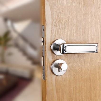 GZF Manillas para puertas Cerradura de puerta de acero inoxidable con núcleo de esclusas de madera