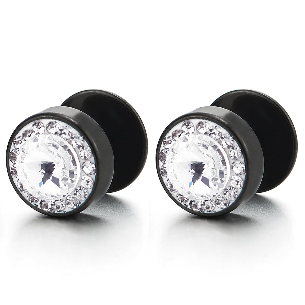 8mm Mens Women Black Circle Stud Earrings with Cubic Zirconia Steel Cheater Fake Plugs Gauges Tunnel