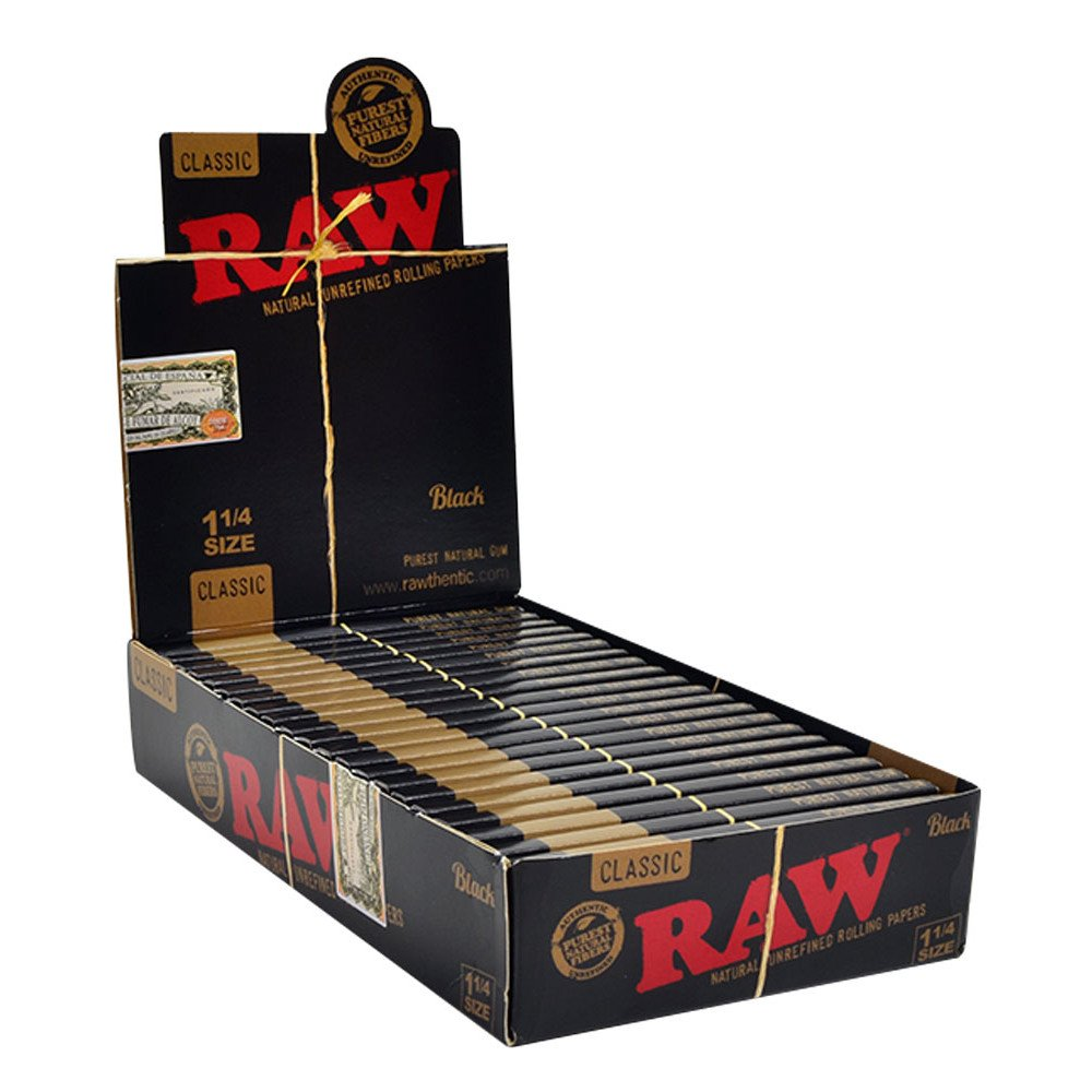 RAW Classic Black 1 1/4 Size Natural Unrefined Ultra Thin 79mm Rolling Papers (24 Packs)