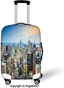 AngelDOU Printed Thicker Travel Suitcase Protective Cover American New York City Aerial with Skyscrapers Manhattan Urban Architecture Panorama Silver Blue Peach Luggage Case Travel Accessories.