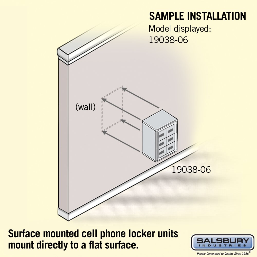 Salsbury Industries 19038-06SSC Cell Phone-3 Unit Surface Mounted-Resettable Combination Locks with 8-Inch Diameter Compartments, Sandstone