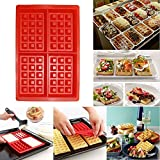 1Pcs New Safety 4 Cavity Waffles Cake Chocolate Craft Candy Soap Pan Silicone Mold Baking Mould Cooking Tools Kitchen Red