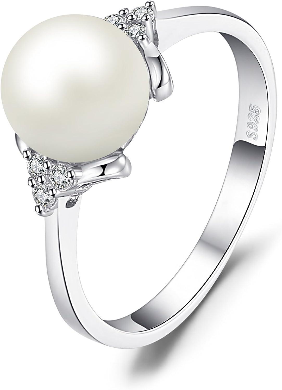 JewelryPalace Blanco 8mm AAA mujer CZ anillo perla de agua dulce cultivo Plata de ley 925