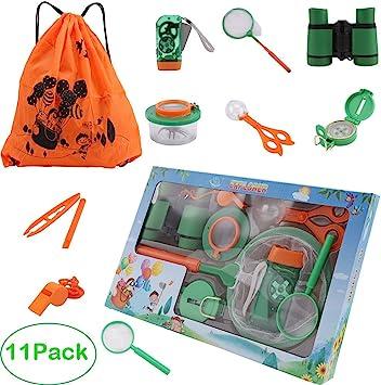 Interesante Herramientas niños juguetes, regalos al aire libre Explorador Kit Juguetes, 11 niños Paquete Aventurero Exploración STEM Juguetes con Lupa Prismáticos camping Bug Catcher compás de la lint: Amazon.es: Hogar