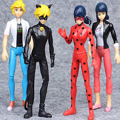 Kids Tooy - Ladybug 4 pcs Action Figure Toys - 4 pcs Miraculous Ladybug Noir Agreste Adrien Action Figure Kids Gift Doll Toys - Perfect Birthday Gifts - Toy for Baby, Kids and Toddler by BestKept Stuffed Action Figure Toy