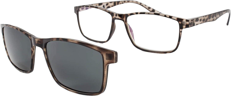 Gafas de lectura con iman para sol - Gafas de presbicia - Vista cansada graduadas - Unisex - Mujer - Hombre - 6016 (C4, 1.00 Dioptrías)