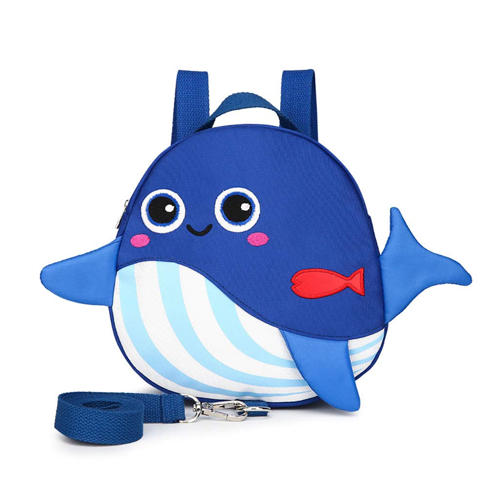 Toddlers Child Walking Safety Harness Backpack,Whale Baby Anti-Lost Mini Bag with Safety Leash for 1-3 Years Old Boys and Girls (Blue)
