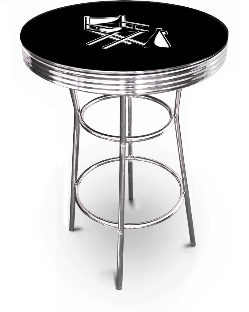 New Movie Theater & Popcorn Themed 42'' Tall Chrome Metal Bar Table with Black Table Top (Director's Chair)