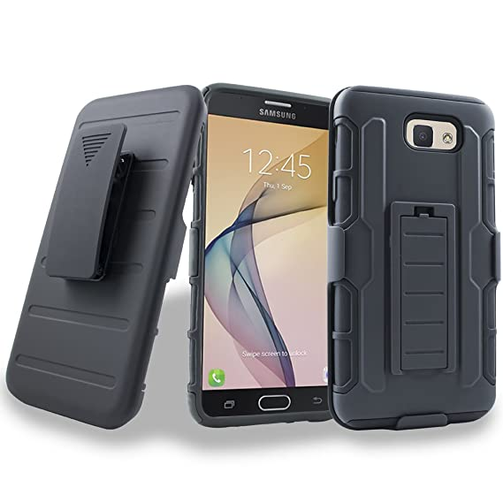 lowest price 2cddd 0165a Samsung On5 2016 Case, Galaxy J5 Prime Case, [Heavy Duty] Armor Shock Proof  Dual Layer [Swivel Belt Clip] Holster with [Kickstand] Combo Rugged Case ...