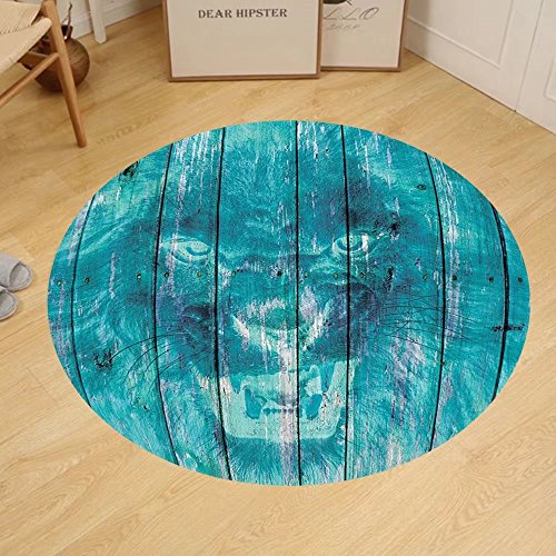 Gzhihine Custom round floor mat Animal Decor Silhouette of Sea Creature with Coral Reef Patterns Inside Aquarium Icon Bedroom Living Room Dorm Orange Green by Gzhihine