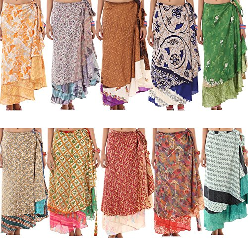 Wholesale-Lot-10-Womens-Skirts-Printed-Reversible-Two-Layer-Wrap-Skirt