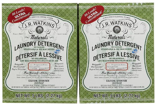 J. R. Watkins Powder Laundry Detergent - 5 Pounds/80 Loads - No Fragrance , Ammonia, Chlorine, Dye, or Phosphates (Pack of 2)  160 Loads Total