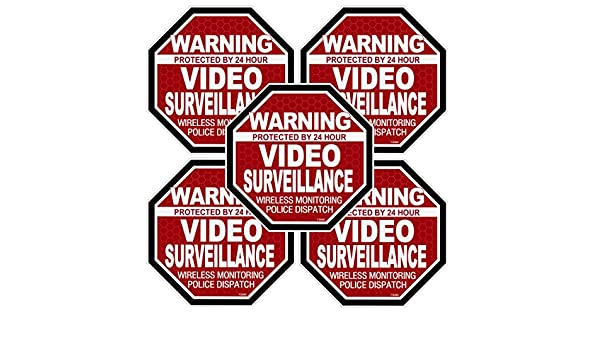 """5 Pack Warning 24 hour Video Surveillance Stickers  /""""OCT/"""" RED Alarm Decal FS060"""