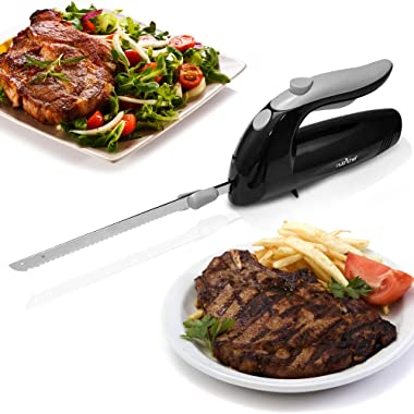 Upgraded NutriChef 8.9  Electric Knife, Serrated Blades, Lightweight, Ergonomic Design For Easy Grip, Stainless Steel, Easy Blade Removal, Carving Knife Great For Thanksgiving, Meat & Cheese, Black