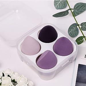 Wet and dry beauty egg blender powder puff (8 phantom purple) with two boxes beauty blender sponge 3D beauty egg